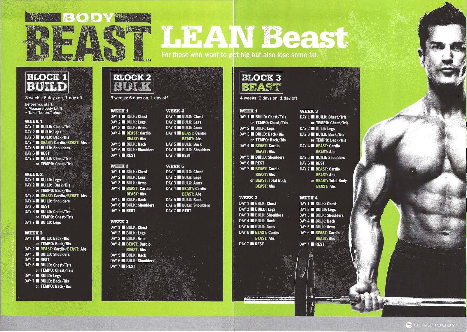 Body Beast Schedule Lean