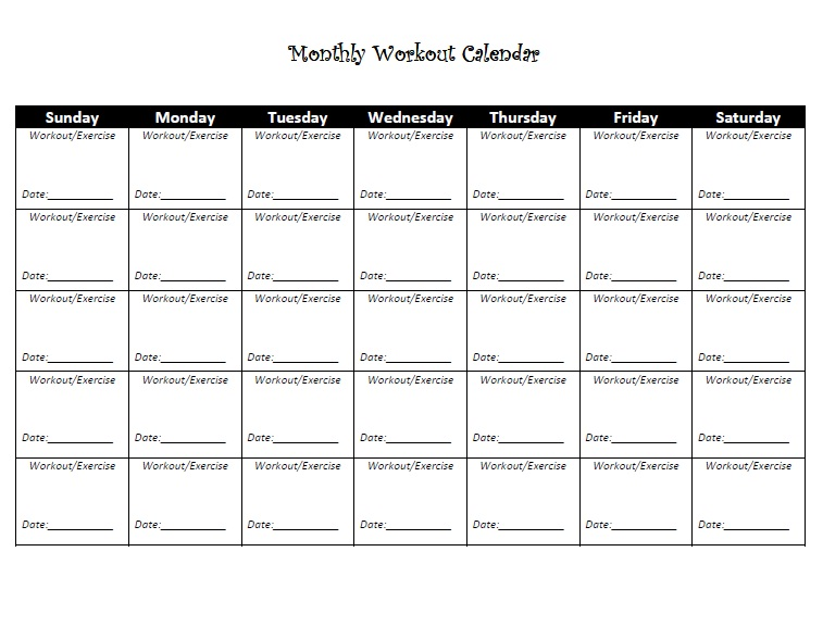 printable-exercise-calendar | 2 Lazy 4 the Gym